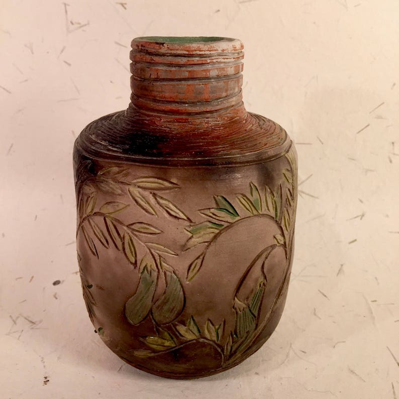Smoke-Fired Vase with Pea Tendrils and Pods