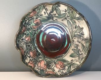 Fluted Sculptural Bowl with Roses
