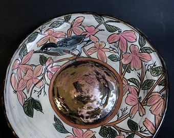 Wide Bowl With Dogwood Florals, Branches and Leaves, and Bird