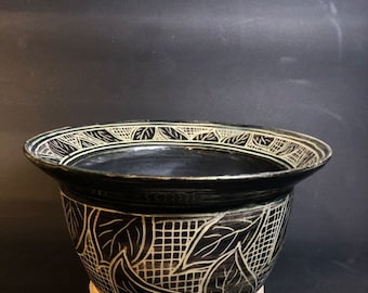 Tall Bowl with Abstract Patterns of Leaves