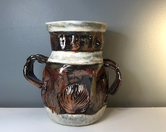 Double Handled Copper Vase With Shell/Leaf Patterns