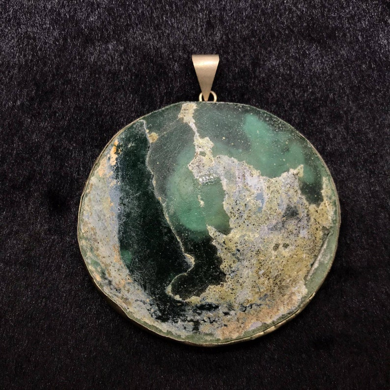 Wonderful Ancient Roman Glass Cicra 3rd Century Pendant With Super Patina