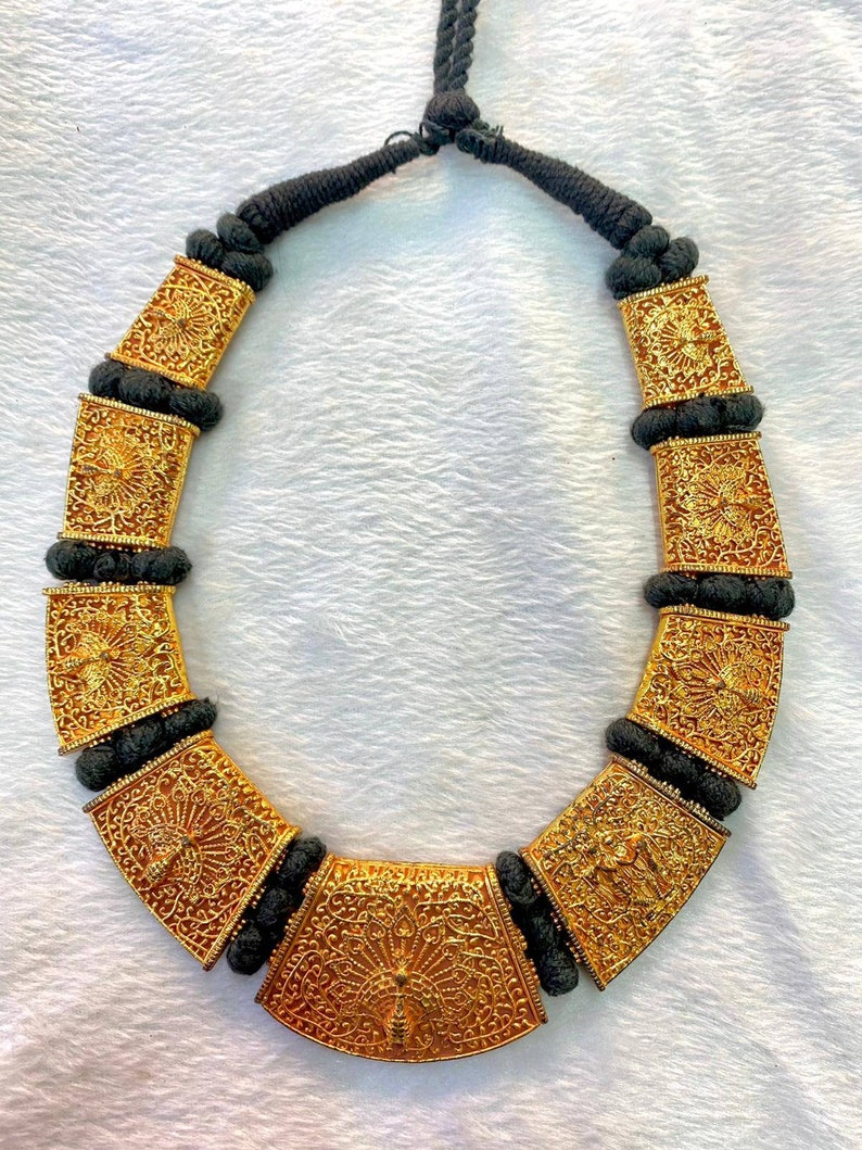 Gerogues MASSIVE Vintage Peecock Carved Gold Gulied Wonderful Tibetan Necklace
