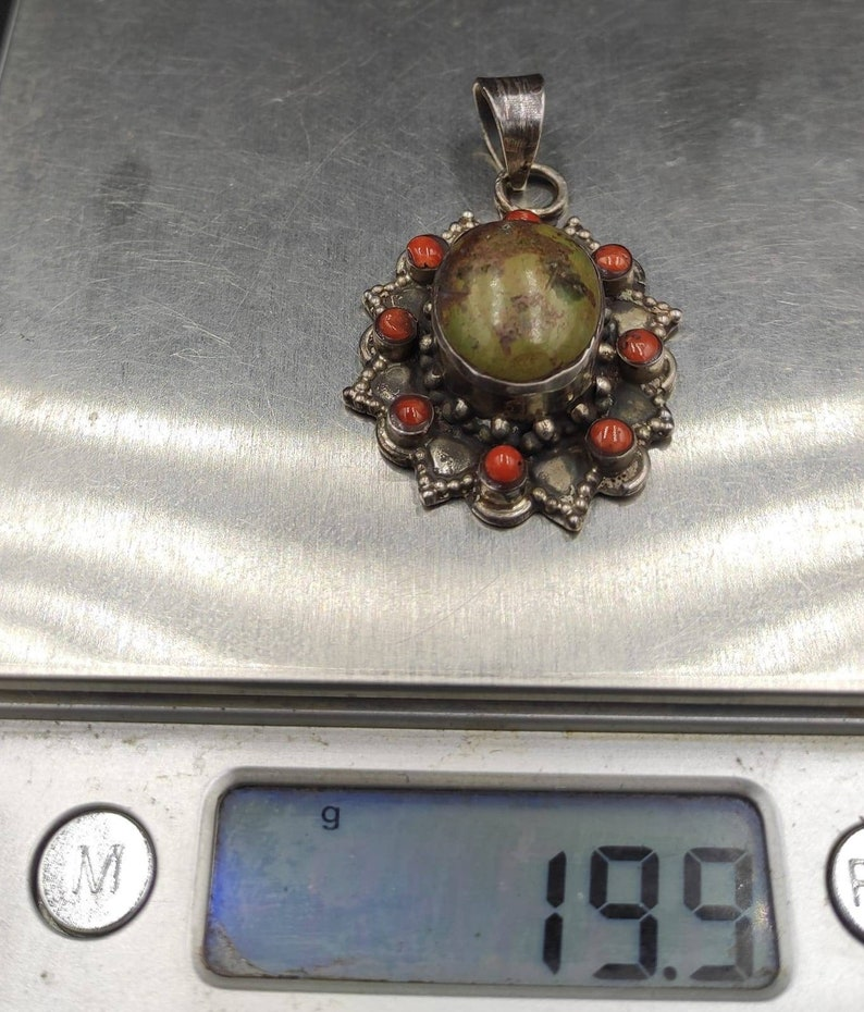 Wonderful Antique Old Tibetan Silver Pendant With Natural Turquoise and Coral