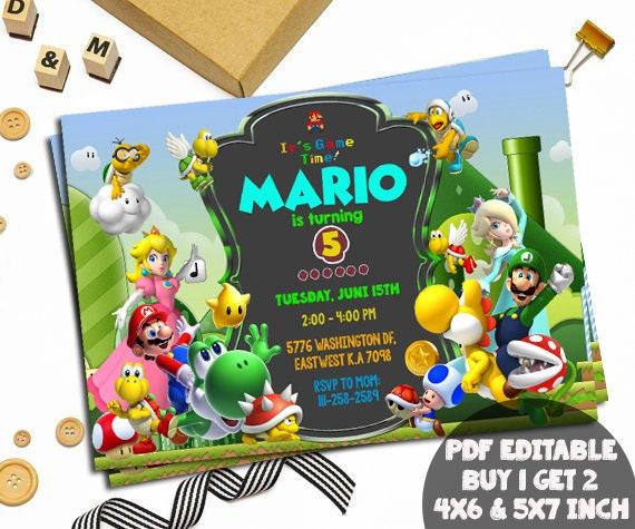 Super Mario Birthday Invitations Chalkboard Super Mario Etsy