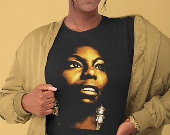 Nina Simone T Shirt, Aesthetic tees ladies, Vintage Jazz, Gospel, Soul, Funk Singer, Unisex Jazz Music Artist Band Shirts