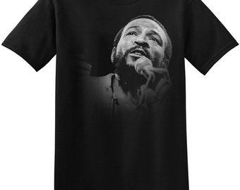5ed473fc3 Marvin Gaye T Shirt Graphic Print New Black Vintage Unisex Soul Funk Music  Artist Band Tee Shirts 3-A-085