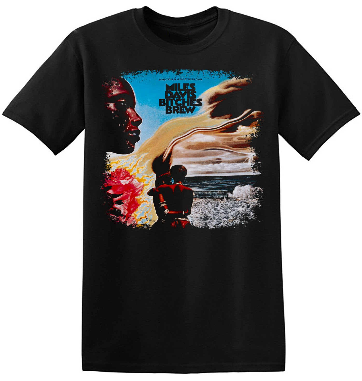 Miles Davis Hand Printed Cotton T Shirt Coltrane Kind of Blue Bitches Brew Jazz