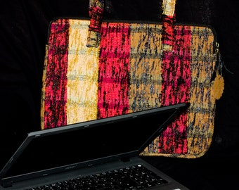 Laptop bag, documents bag in nature brown, black Bordeaux, suitable for 18 inches, handwoven, multicolored. Brand Kalima