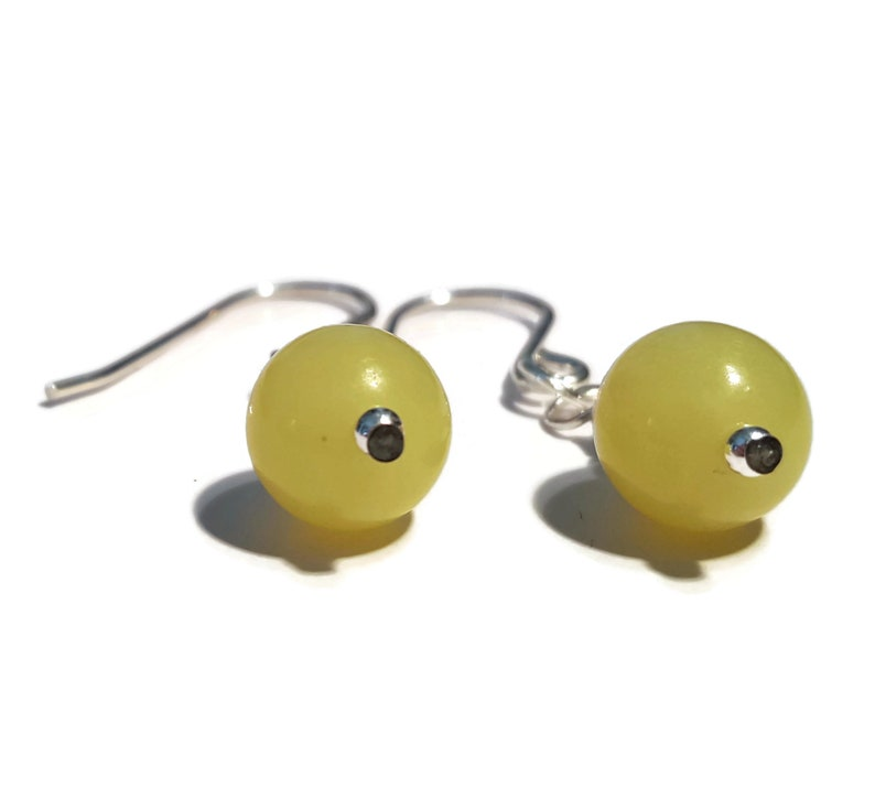 Female Birthday Supprise Gift Wear Jade Earrings Silver Natural Olive Jade Jewellery Green Gemstone Bead Statement Earrings
