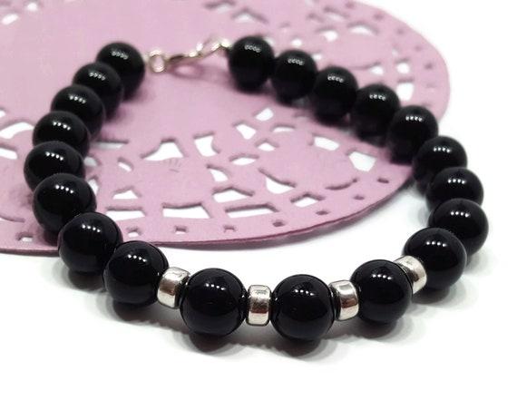 Black Onyx Bead Bar Bracelet in 925 Sterling Silver Genuine Gemstone