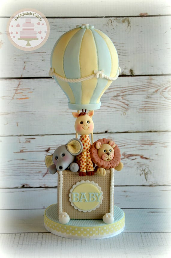 hot air balloon fondant cake topper for baby shower 1st