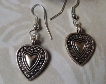 Heart Charm Drop Earrings, Lucky Charm, Gift ideas, Gift for her, ToaBeads