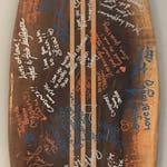 Wooden Surfboard wall decoration, wedding guest book