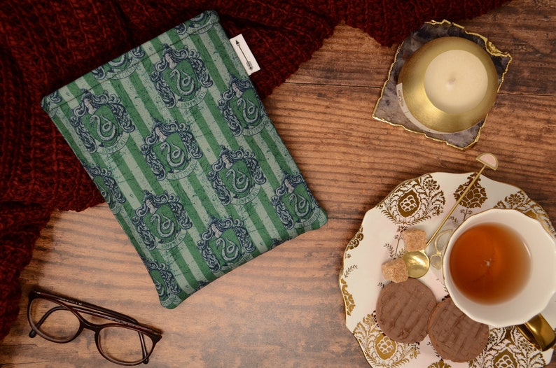Padded book sleeve made with green wizard house fabric   book image 0