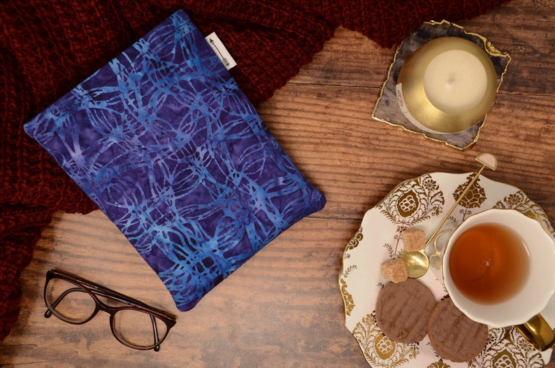 Padded book sleeve made with Purple and Blue Batik fabric  image 0