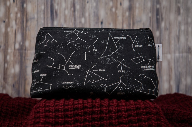 Toiletries bag made with glow in the dark constellations image 0