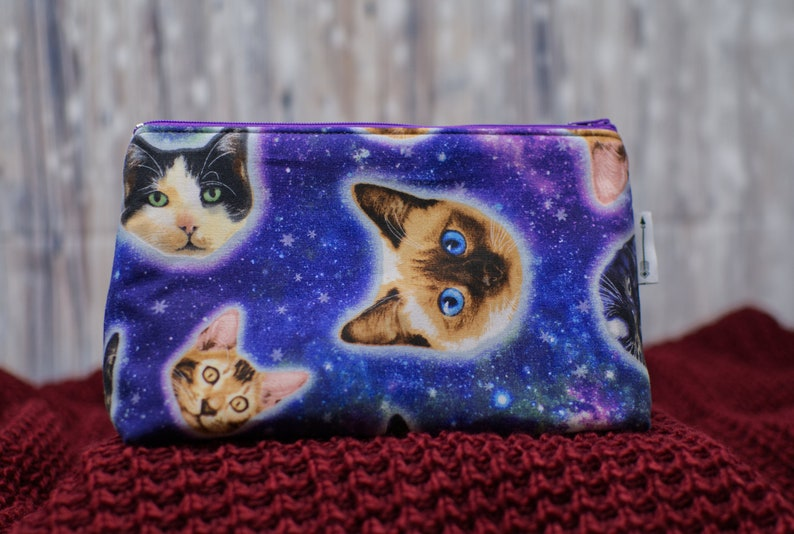 Toiletries bag made with Galaxy Space Cat fabric  makeup bag image 0