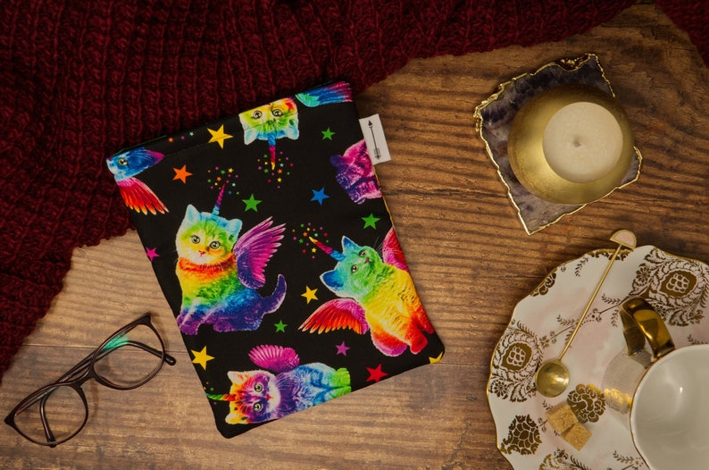 Padded book sleeve made with rainbow unicorn cat fabric  image 0