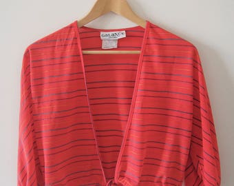 Vintage French Capelet, Coral Crepe Fabric with Stripes, Size M