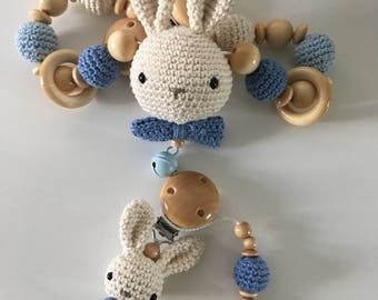 Set of pram necklace and dummy chain with name Crochet Amigurumi Bunny