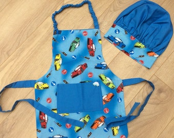 Childs reversable apron and chef hat 3-6years cars