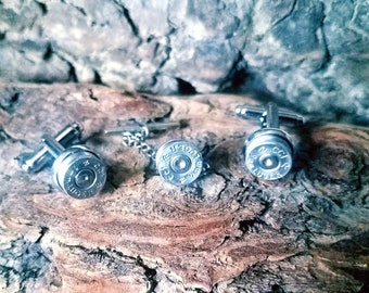 9mm Bullet Shell Cufflinks and Tie Clip - Bullet jewelry - gifts for him - wedding - formal - cuffs