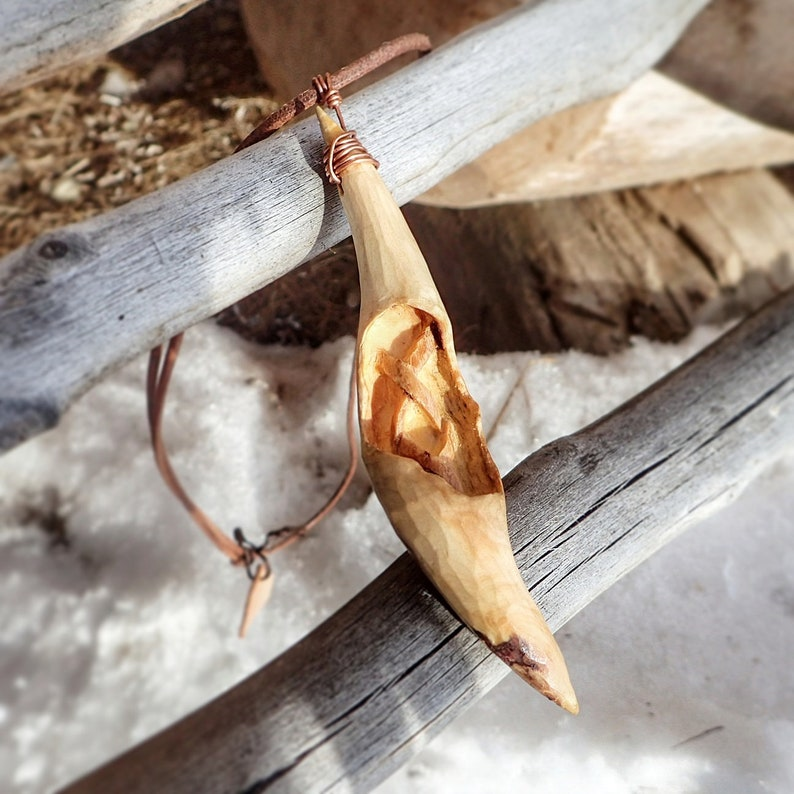 Carved Pine branch pendant image 0