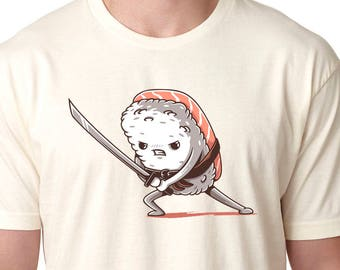 Men's Tuna Sushi Samurai Shirt Off White Sushi t-shirt foodie sushi lover gift food t shirt funny t shirt sushi clothing sushi tshirt Foodie