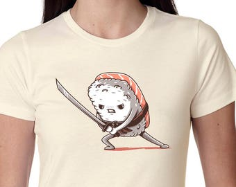 Women Tuna Sushi Samurai Shirt Off White Sushi t-shirt foodie sushi lover gift food t shirt funny t shirt sushi clothing sushi tshirt Foodie
