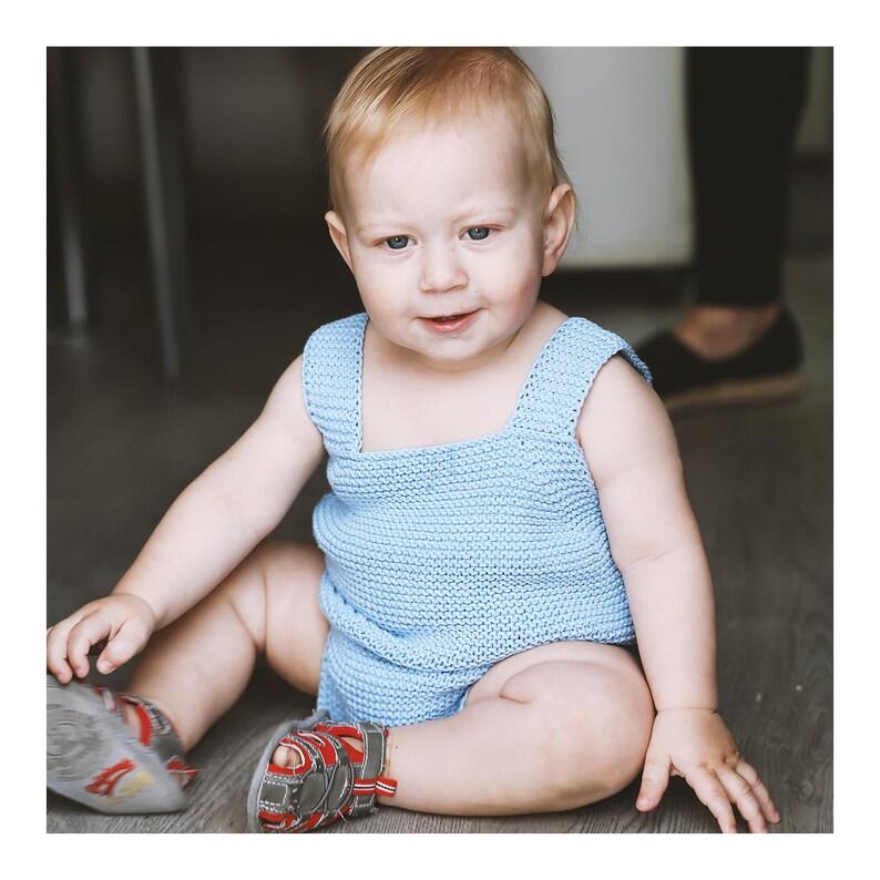 Baby Romper Cotton Romper Handmade Blue Romper Baby image 0