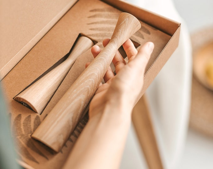 Featured listing image: Set of 2 Handturned Wood Candlestick, Natural Oak Wood Candle Holder, Tape Candle Holder, Hygge Simple