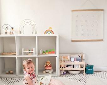 Alphabet Hanging Canvas, Education Learning, ABC, Classy Kids' Room/Nursery Decor, ABC Wooden Frame Poster, Playroom Montessori