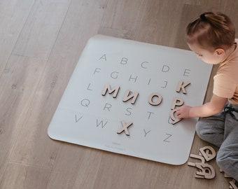 Woodland Alphabet, Play mat, ABC, Alphabet mat, Placemat, Kids mat, ABC letters, Playroom decor, Eco leather, Wooden letters