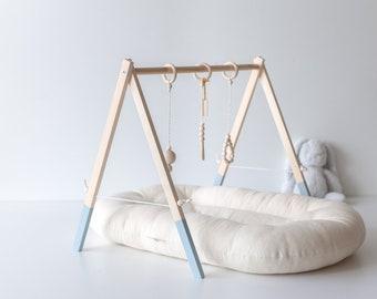 Celestial Blue Baby gym - Wooden baby gym - Baby activity gym - Wood Baby Play Gym - Activity Gym - Mobile activity - Montessori - Newborn