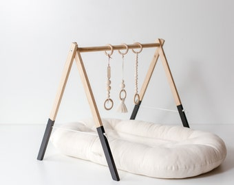 Black Edition Wooden Baby Gym, Baltic Oak Baby Gym, Infant Wooden Gym, Gym For Babies, Baby Shower Gift ,  Scandinavian design play gym