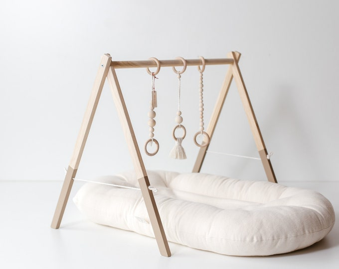 Silt Brown Wooden Baby Gym, Baltic Oak Baby Gym, Baby activity gym, Gym For Babies, Wood Baby Play Gym,  Scandinavian design play gym