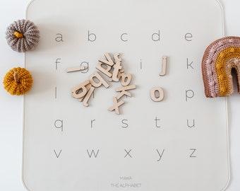 School, Wooden letters + Play mat, abc, Alphabet mat, Placemat, Kids mat, abc letters, Education games