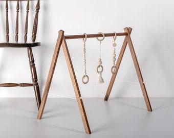 Walnut baby gym, Scandinavian design play gym, Gift for Baby
