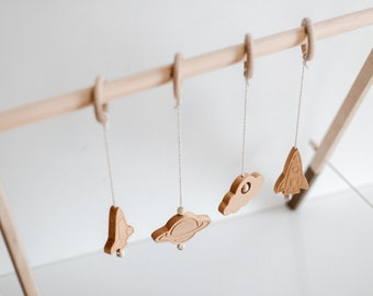 Astronomy Baby Gym Hanging Toys, Montessori, Activity Baby Gym For Space Nursery, Wooden Hanging Toys, Crib Pram Toy, Boho Nursery Decor