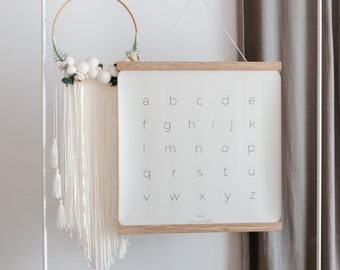 Lowercase Letters, Alphabet Hanging Canvas, Nursery Wall Hanging, Poster