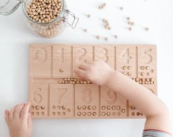 Number Wooden Board Montessori, Learn, Counting, Math, Preschool, Homeschool