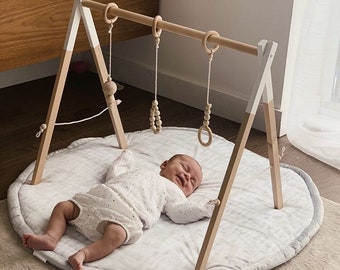 Montessori baby gym, White baby gym, Wooden baby gym, Baby toys, Wood baby toys, Scandinavian gym, Baby fitness studio, Free shipping
