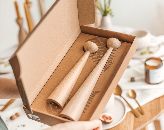 Featured listing image: Set of 2 Handturned Wood Candlestick, Natural Oak Wood Candle Holder, Minimalist Scandinavian, Christmas Gift