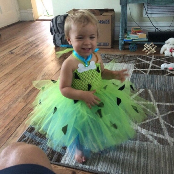 Lime Pebbles Halloween Tutu Dress Costume, Flintstone Costume For Baby  Girl, Pebbles Costume For Toddler Tutu