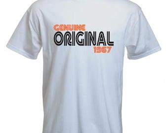 50th Birthday Tshirt Original Since 1967 Gift Slogan Tee Statement Mens Short Sleeved
