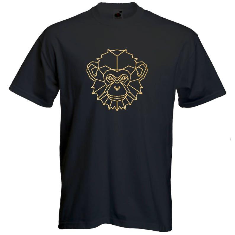 4374bc3ca11b Sacred geometry monkey Tshirt mandala animal Tee spiritual T