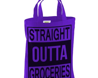 Cotton tote bag-straight outta groceries bag-re usable short handle bag-folding lightweight bag-grocery bag-shopping tote-shoulder bag