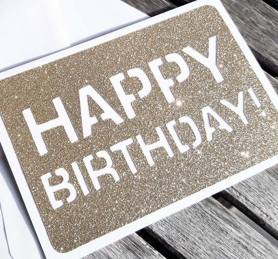 HAPPY BIRTHDAY CARD Glitter Gold Birthday Card Greetings