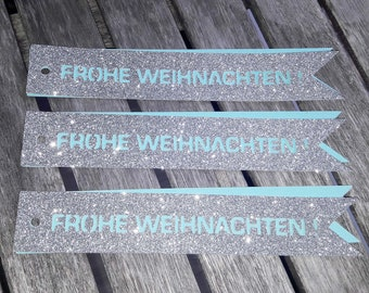 3 FROHE WEIHNACHTEN tags in SILVER Glitter tag tags banner for bottles gift boxes flowers bling